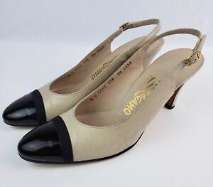 Salvatore Ferragamo Florence Beige (Nude) Black Cap Toe Heels Size 8.5 AAAA