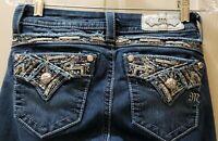 """Miss Me Stretch Standard Boot Denim Jeans Size 25X29 Rise 7.5"""" Waist Flat 14"""""""