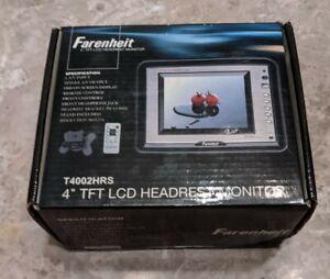 "NEW Farenheit Single 4"" TFT LCD Headrest Monitor For Car w/Remote Control & MORE"