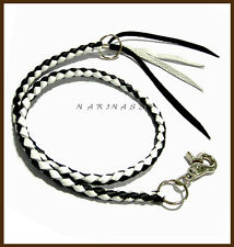 KEY CHAIN BRAIDED LEATHER TRUCKER WALLET BIKER MOTORCYCLE Black & White <#08>