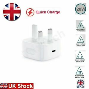 UK Plug For iPhone 12 Mini 11 Pro Max PD 20W USB-C Type C Fast Charger Adapter