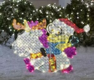 Lighted Minion Riding Unicorn Sculpture Outdoor Christmas Yard Decor Display NEW