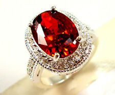 Gorgeous Oval Cut Garnet Women 925 Silver Jewelry Wedding Ring Size 10