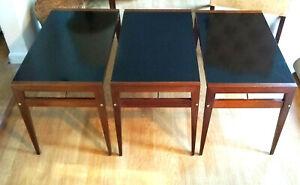 Mod Retro Decor 1950s John Keal-Brown Saltman Walnut Folding End Tables Set of 3