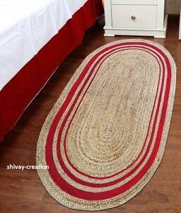 Rug 100% Natural Jute Hand Braided oval Rug Floor Mat Reversible Home Decor Rug