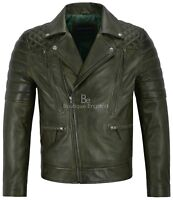 Matt Lauer Men's Real Leather Jacket Olive Green Slim Fit Biker Style 3205