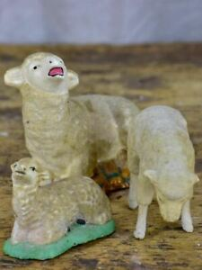 Three antique French sheep figurines