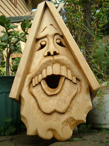Unique Buck Tooth Bird House Hand Carved Rustic Face Wood Spirit 16""