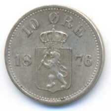 Norway Silver 10 Ore 1876 XF+