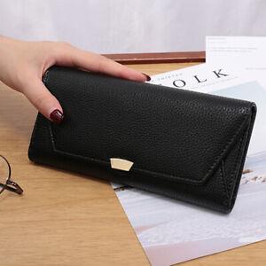 Women Long Fashion Lychee Pattern Buckle Tri-fold Envelope Mobile Black Wallets
