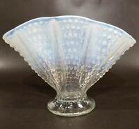 Vintage Fenton Moonstone MCM Fan Vase Opalescent Hobnail ART GLASS