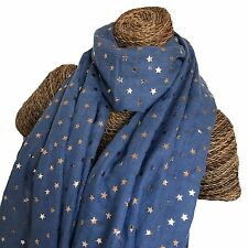 STAR SCARF BLUE WITH TINY ROSE GOLD STARS SPARKLE LADIES SUPERB SOFT QUALITY