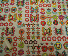 Butterfly Print PVC Ripstop Fabric Wipe Clean Material * Tablecloth * Bag Making