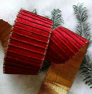 1 yard x 60mm WIRED CHRISTMAS RIBBON  DEEP RED VELVET WITH METALLIC GOLD BACKING