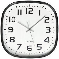 Round Square Wall Clock, Silent Non Ticking ,Quartz Battery, White