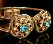So Pretty Sparkly Hinged Vintage 50's Art Deco Rhinestone Flower Bracelet 156O5