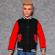 "Handmade doll Black & Red Baseball Jacket clothes for 12"" ken dolls"