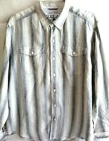 Tommy Bahama-Mens Long Sleeve Button Down Shirt-Extra Large-XL, 100% Linen, Gray