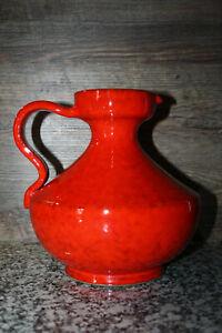 Vintage Henkelvase Krug Keramik Vase rot Mid Century 70er
