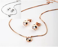 Rose Gold Plated Clear Single Diamond Set Made With Swarovski Crystal XS28