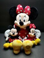 "Disney Store Minnie Mouse 18"" Original Plush Toy Mickey & Minnie 9"" Plush LOT 3"