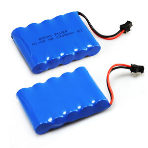 AA 6V 1400mAh RC Ni-Cd Rechargeable Battery SM 2Pin Plug High Capacity for Toy