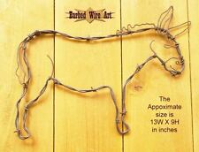 Donkey - handmade decor Barbed wire art farm country horse mule brown metal