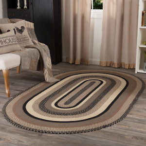 VHC Sawyer Mill Charcoal Jute Farmhouse Country Oval Rectangle Braided Rug W/Pad