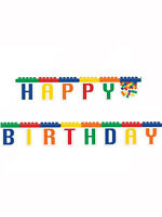 7ft x Lego Inspired Block Happy Birthday Jointed Letter Banner Party Decoration