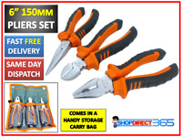 "3PC 6"" 150MM SET PLIER LONG NOSE & COMBINATION CUTTERS & CUTTING PLIERS NEW 24-4"