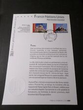 FRANCE 2006 NOTICE DOCUMENT FDC timbres 3923/3924, NATIONS UNIES, ONU, 1° JOUR