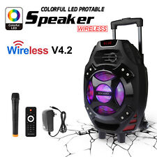"LED Colorful Portable Karaoke Party DJ 18"" PA SPEAKER SYSTEM w/ Wireless Mic 25W"