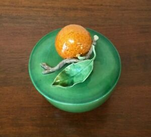 Antique Majolica Trompe L'oeil Mandarin Orange Bowl with Lid Portugal (A)