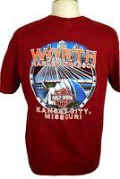 Worth Harley Davidson Kansas City, MO Men's XL, Dark Red 2015 T-Shirt EUC