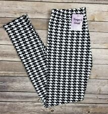 PLUS Size Black and White Houndstooth Leggings Curvy