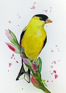 "New watercolor original bird 7""x10"" art by Anne Gorywine"