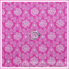 BonEful Fabric FQ Cotton Quilt VTG Lace Flower White Pink Rose Calico Baby Girl