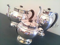 GALLIA Christofle AntiqueFrench coffee tea set / 3 pieces silverplated 1900
