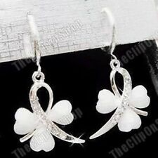 Clip on Mini Hoop Earrings White Heart Clover Crystal Silver Rhinestone Diamante