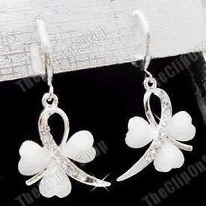 CLIP ON mini hoop EARRINGS WHITE heart clover CRYSTAL silver rhinestone DIAMANTE
