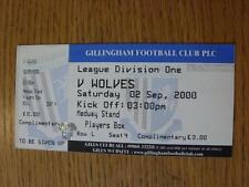 02/09/2000 Ticket: Gillingham v Wolverhampton Wanderers (Complete, Folded). Item