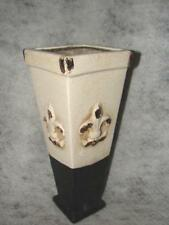 Vintage Crackle Ceramic Fleur De Leur Flower Vase