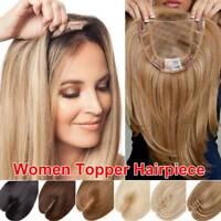 100% Russian Remy Human Hair Mono Silk Base Topper Hairpiece Women Top Piece Us