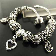 CHARM BRACELET CUFF BANGLE GENUINE REAL 925 STERLING SILVER S/F SOLID SNAKE LINK