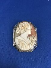 14K Vintage Cameo Shell Broach 7.1 grams #253