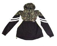 Superdry Mens Jacket Black Green Size XL Colorblock Camo-Print Hooded $84 375