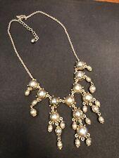 "Gold Bohemian Bib Bold Statement Necklace With Dangling Gold Shiny Cabachons 16"""