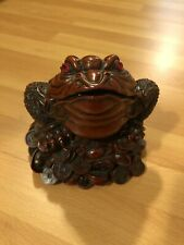 Feng Shui Toad Money LUCKY Fortune Wealth Chinese Golden Frog Toad Decor W/Coin