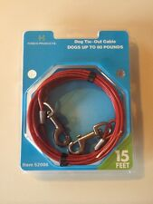 Dog Run Tie Out Cable 15ft Foot Up To 80 Lbs New Nylon Coated Habco