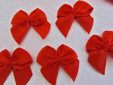 """100 Hand Made Satin 3/8"""" Ribbon Bow Applique/Holiday Christmas/Trim/Sew F17-Red"""